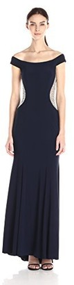 Xscape Evenings Women's Long Off The Shoulder Ity with Bead Sides