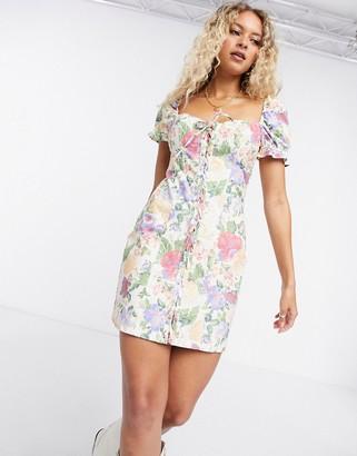Bershka puff sleeve floral dress in multi
