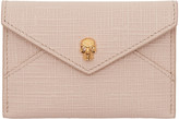 Alexander McQueen Pink & Gold Skull Envelope Card Holder