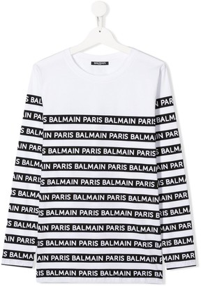 Balmain Kids long sleeve striped logo T-shirt