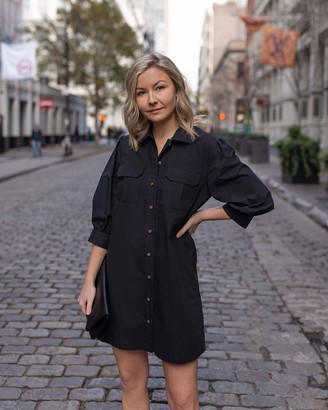 The Drop Women's Black Mid-Length Volume-Sleeve Button Down Mini Shirt Dress by @laurie_ferraro XXS