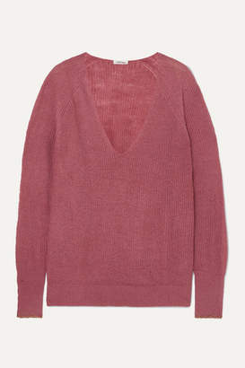 Love Stories - Ace Metallic-trimmed Knitted Sweater - Antique rose