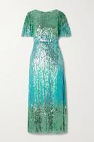 RIXO - Venus Sequined Chiffon Midi Dress - Mint