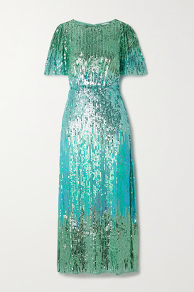 Rixo Venus Sequined Chiffon Midi Dress - Mint