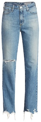 AG Jeans Alexxis Mid-Rise Straight-Leg Distressed Jeans