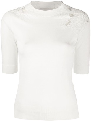 Ermanno Scervino Crocheted Cut-Out Detail Knitted Top