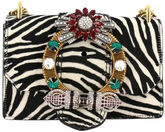 Miu Miu Handbag Shoulder Bag In Zebra Printed Calfhair With Jewel Buckle