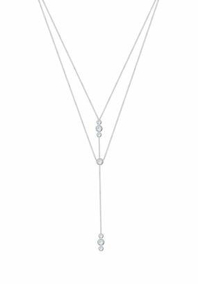 Elli Women's Necklace Y-Chain Layer Round Basic Geo with Swarovski Crystals 925 Sterling Silver - 45cm length
