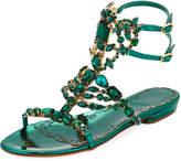 Marchesa Emily Jeweled Flat Sandal, Emerald