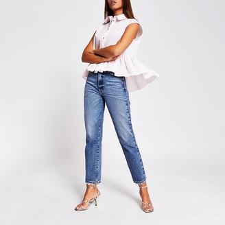 River Island Pink sleeveless high low frill shirt