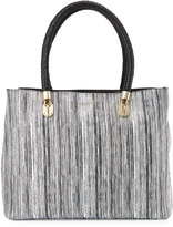 Cole Haan Benson Large Snake-Embossed Leather Tote Bag, Black/Ivory