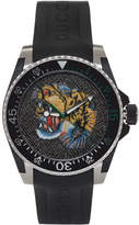 Gucci Black and Silver Tiger Dive Watch