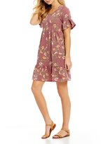 Moa Moa Floral Printed Ruffle Sleeve Knit Babydoll Dress