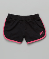 Soffe Black & Pink Glo Post Game Shorts - Girls