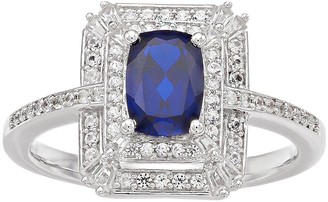 Unbranded 14k White Gold Sapphire & 1/3 Carat T.W. Diamond Tiered Frame Ring