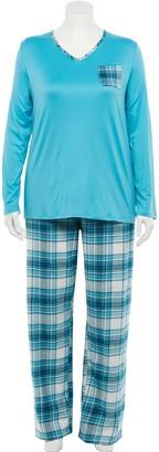 Croft & Barrow Plus Size Long Sleeve Knit Pajama Shirt & Flannel Pajama Pants Set