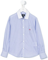 Armani Junior chest pocket striped shirt - kids - Cotton - 11 yrs