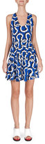 Kenzo Sleeveless Printed Fit-and-Flare Dress, Royal Blue