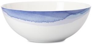 Lenox Indigo Watercolor Stripe Porcelain Serving Bowl, Created for Macy's