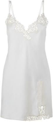 La Perla Petit Macrame Silk-Rich Slip Dress