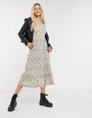 Miss Selfridge sleeveless tierred midi dress in animal print