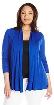 Ellen Tracy Women's Plus-Size Knit Drape Front Cardigan