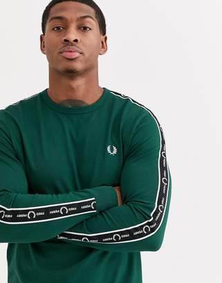 Fred Perry long sleeve t-shirt with side taping in green