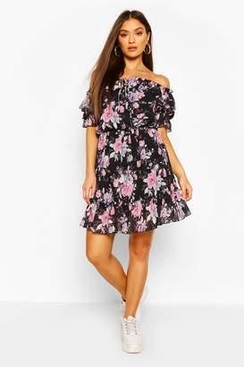 boohoo Floral Off Shoulder Ruffle Detail Midi Dress