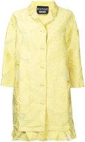 Moschino leaf patterned ruffle hem coat - women - Polyester/Cotton/Nylon - 42