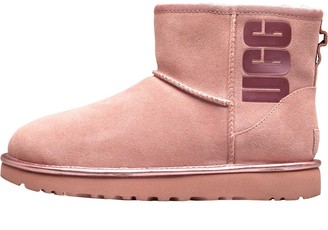 UGG Womens Classic Mini Rubber Logo Boots Pink Crystal Metallic