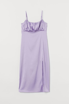 H&M Slit-front Dress - Purple