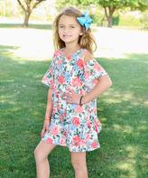 Peach & Blue Floral Open-Shoulder Dress - Toddler & Girls