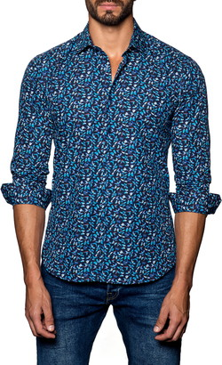 Jared Lang Trim Fit Butterfly Button-Up Shirt