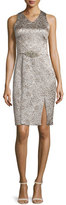 Theia Sleeveless Shimmery Cocktail Dress, Platinum