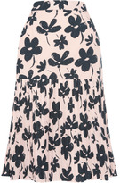Marni Preorder Poplin Ink Flower Skirt
