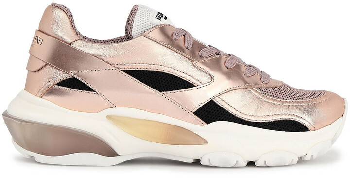 Valentino Mesh And Metallic Faux Leather Sneakers