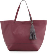 Neiman Marcus Saffiano Faux-Leather Tassel Tote Bag, Burgundy