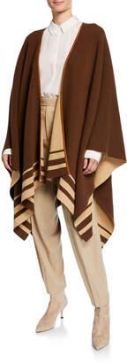 Ralph Lauren Reversible Striped Wool-Cashmere Poncho