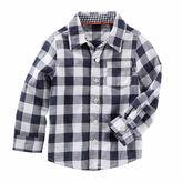Osh Kosh Oshkosh Boys Long Sleeve Navy Check T-Shirt-Toddler