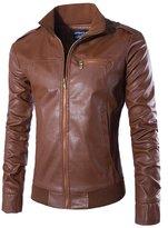 Lanbaosi Men's Faux Leather Leather Stand Moto Biker Slim Fit Jacket