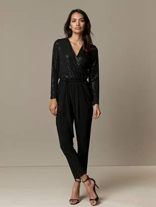Wallis Petite Sparkle Jumpsuit - Black