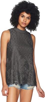 Jolt Women's Lace Front Swing Mock Neck Top