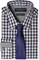 Nick Graham Men's Modern Fitted Multi-Gingham Dress Shirt & Solid Tie Set