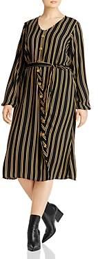Junarose Plus Asly Striped Midi Shirt Dress
