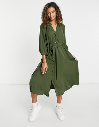 Asos DESIGN button through midi shirt dress with ruched waist in khaki