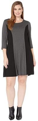 Karen Kane Plus Plus Size 3/4 Sleeve Color Block Dress (Dark Heather Grey/Black) Women's Dress