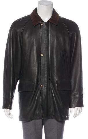 d309e95c2 Leather Zip-Up Coat