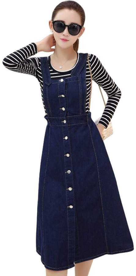 8a6d9c4646 Clothing, Shoes & Jewelry Drasawee Womens Denim Overall Dress Suspender  Jumper Jean Skirt with Shirt 2#XXL