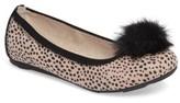 Stuart Weitzman Girl's Fannie Cheetah Faux Fur Pom Flat
