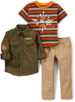 Rocawear Olive Button Up, Orange 'Roc' Crewneck & Straight-Leg Pants Set - Toddler & Boys